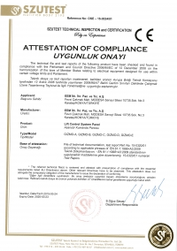 LIFT CONTROLLER - CE CERTIFICATES
